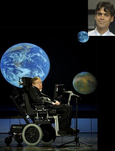 El doctor Enrico Ramírez Ruiz, miembro correspondiente de la Academia Mexicana de Ciencias, resalta el brillante intelecto del físico teórico británico Stephen Hawking (1942-2018). (Imagen: de Stephen Hawking tomada de www.hawking@org.uk/de Enrico Ramírez tomada de AMC.)