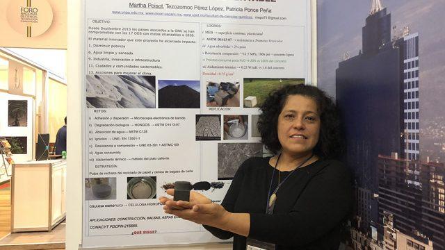 La investigadora Martha Poisot, de la Universidad de Papaloapan, en Oaxaca, presentó una propuesta para utilizar un nuevo material que sustituye al cemento, durante el Shark Tank en el segundo y último día del Primer Foro de Ciencia, Tecnología e Innovación 2018, en el que aspirantes a emprendedores trataron de convencer a inversionistas de financiar su proyecto. (Foto: cortesía Ramsés Orta/FCCyT.)