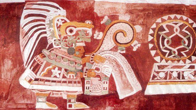 Mural de Teopancazco. Traje típico de Teopancazco, un antiguo centro de barrio teotihuacano. (Foto: Mural de Teopancazco, dibujo de Adela Bretón.)