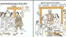 Fragmento del Lienzo de Tlaxcala, códice postcortesiano, elaborado por talxcaltecas en el siglo XVI, en el que se representan varios episodios en los que Malintzin o Marina acompaña al conquistador español Hernán Cortés (Imagen: Lienzo de Tlaxcala.)