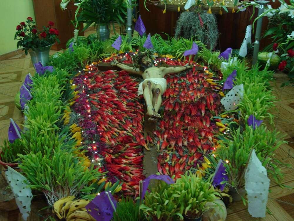 Un Cristo en la cruz adornado para la celebración de la Semana Santa en Zaachila, Oaxaca, ejemplo del uso tradicional de las plantas en las ceremonias religiosas en poblaciones mexicanas. (Fotos: cortesía de Gabriela Cruz Lustre.)